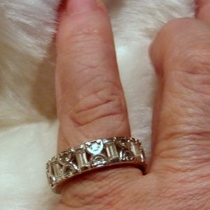 Jewelry - Silver Tone CZ Round & Baguette Band Wedding